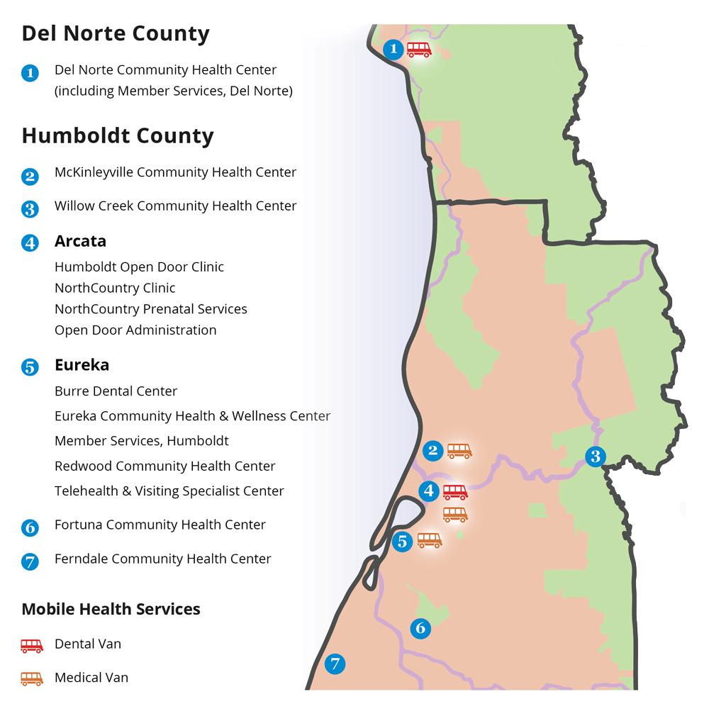 Open Door Community health Center Service Area Map